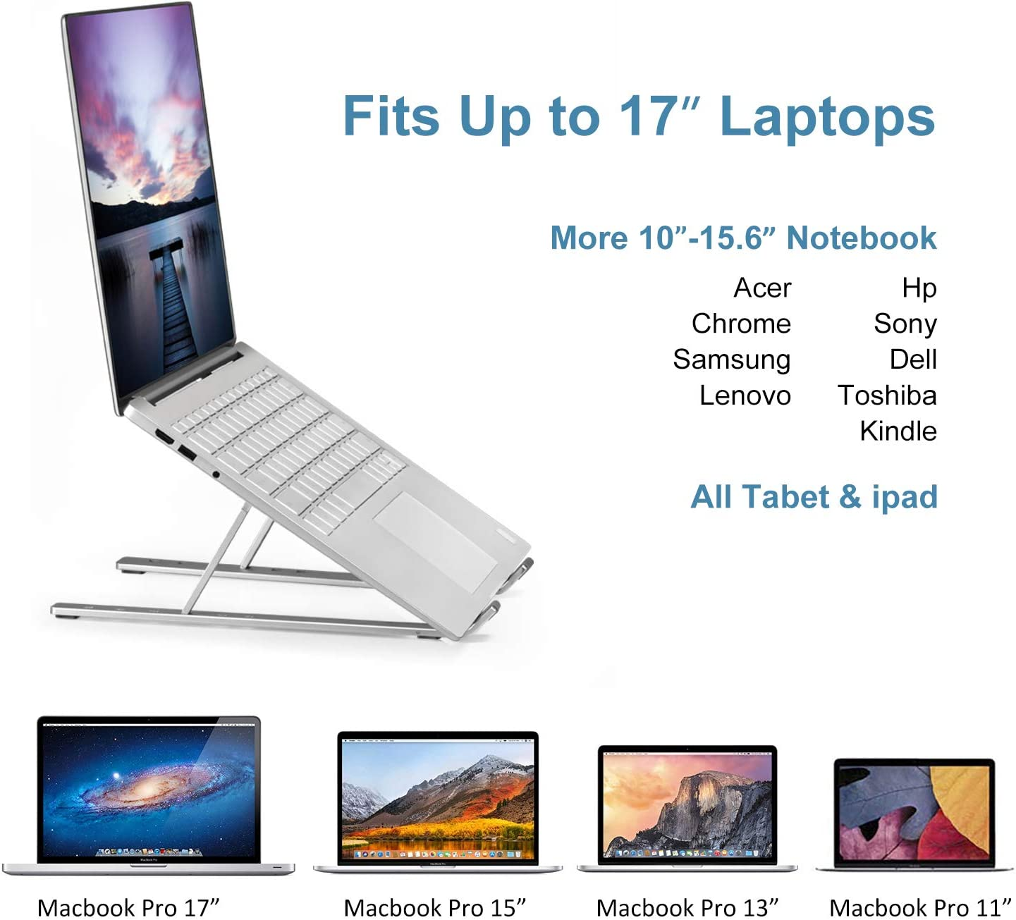 Lenovo More 10-15.6 Black Laptop Stand HP iVoler Adjustable Aluminum Laptop Computer Stand Tablet Stand,Ergonomic Foldable Portable Desktop Holder Compatible with MacBook Air Pro Dell XPS