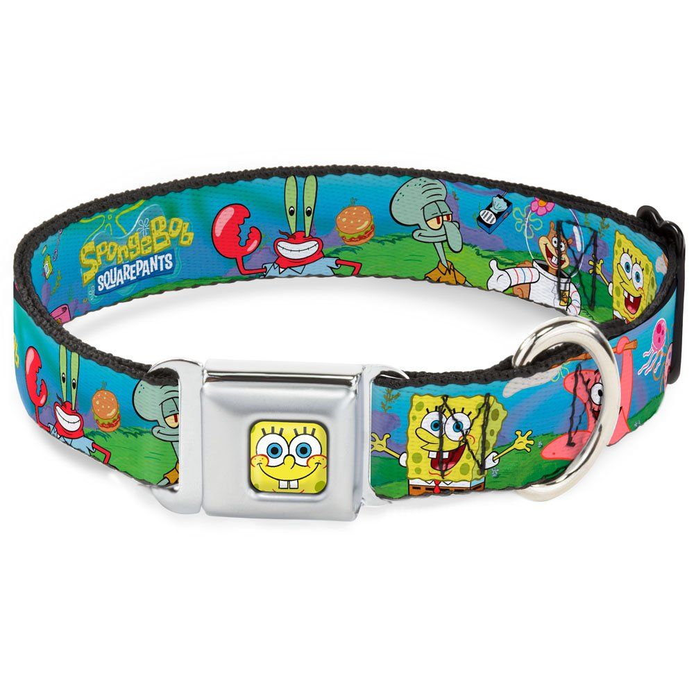 Buckle-Down Seatbelt Buckle Dog Collar Spongebob and Friends Logo 1  Wide Fits 9-15  Neck Small
