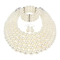 KOSMOS-LI Multi Layer Pearl Strand Costume Jewelry Sets