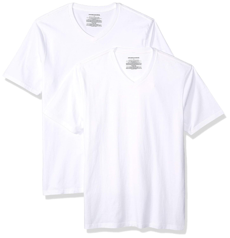 TALLA US L (EU L). Amazon Essentials 2-Pack Slim-fit V-Neck T-Shirt Camiseta