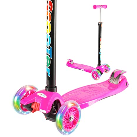 Vamslove Kick Scooter Kids Toys Boys Girls 3 Flashing Wheels Adjustable Height Non Slip