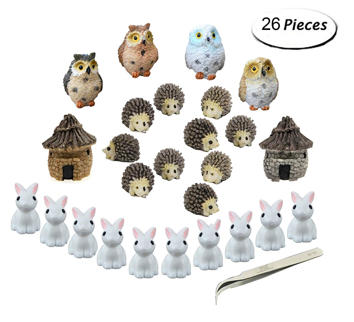 Fashionclubs Miniature Garden Ornaments, 24pcs Miniature Ornaments Kit Set Fairy Garden Figurines Accessories DIY Dollhouse Plant Pot Decoration 1pcs Tweezer