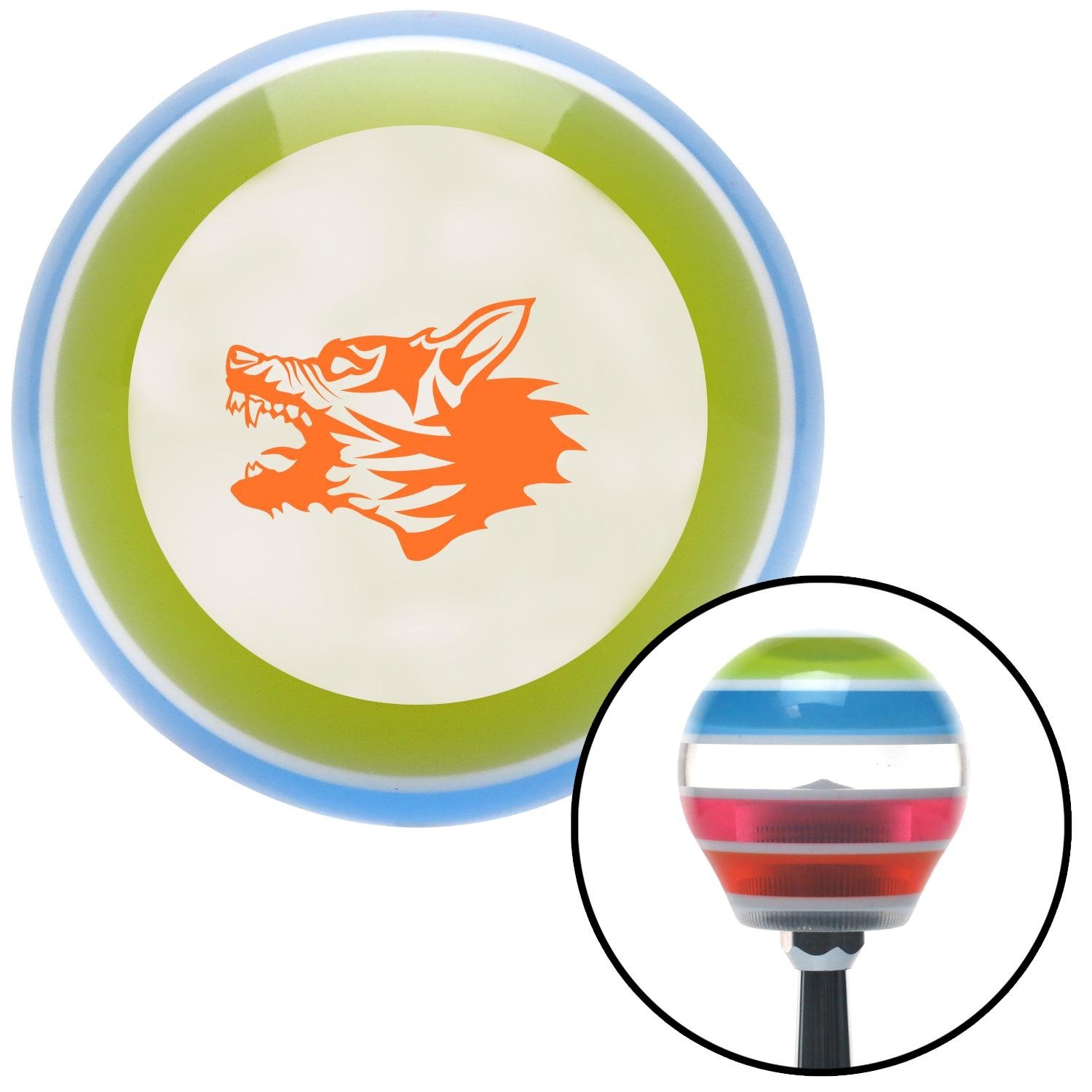 American Shifter 130311 Stripe Shift Knob with M16 x 1.5 Insert Orange Angry Dog