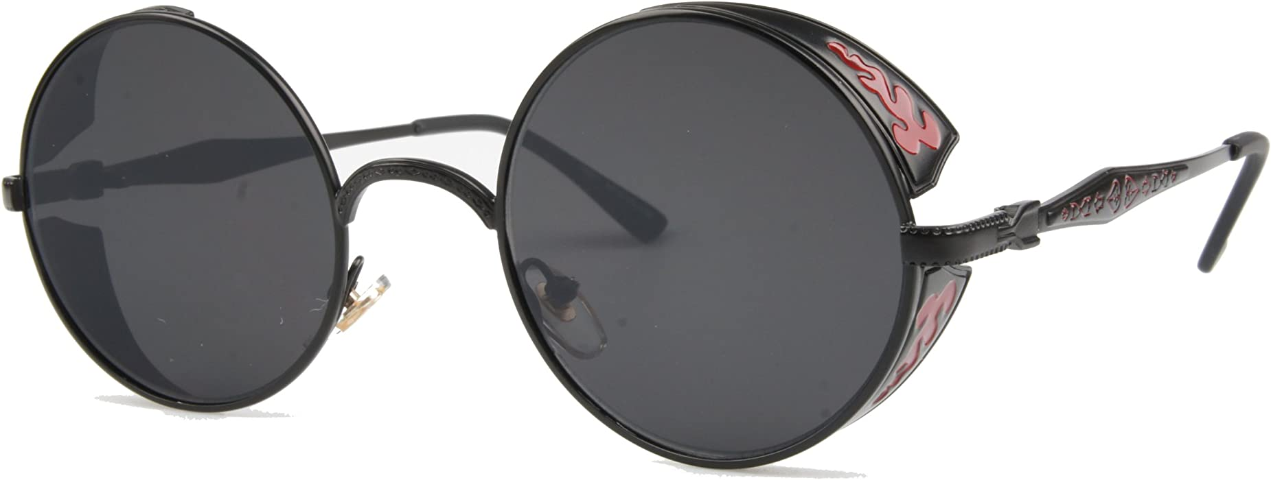 f5c4f34e18b VIVIAN   VINCENT Vintage Hippie Retro Metal Round Circle Frame Sunglasses ( Black Frame Black Lens