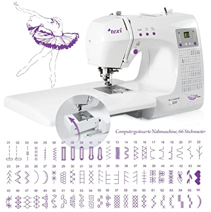 Máquina de coser con brazo libre TEXI tutú ordenador de trabajo grande y picaduras de 66