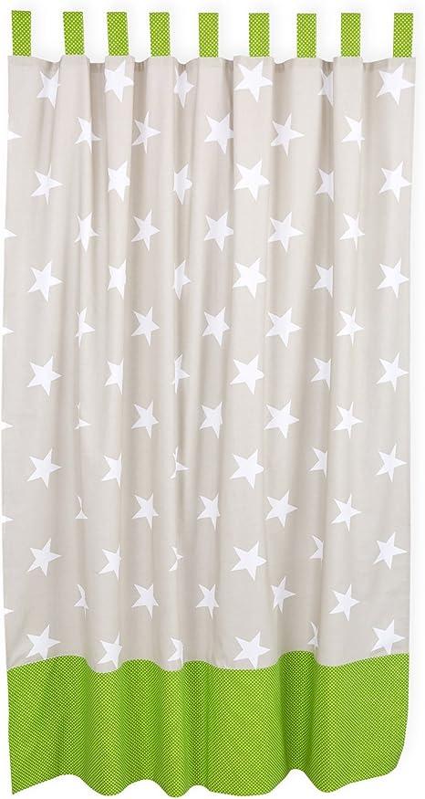 KraftKids Cortinas grandes estrellas blancas sobre beige puntos blancos sobre verde de 100% algodón, elegantes cortinas con trabillas, 170 cm de largo para la habitación infantil: Amazon.es: Bebé