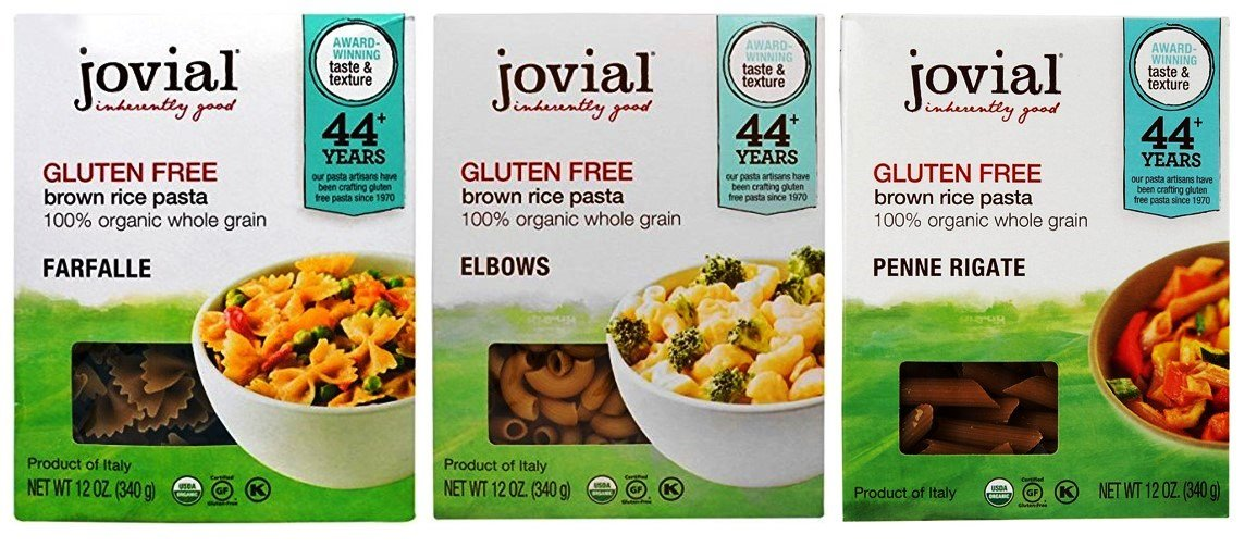Jovial Organic Gluten-Free Brown Rice Italian Pasta 3 Shape Variety Bundle: (1) Farfalle, (1) Elbows, and (1) Penne Rigate, 12 Oz. Ea. by Jovial