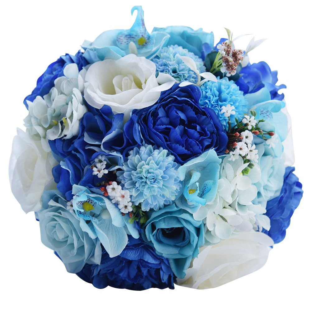 Blue bouquet for wedding amazon zebratown 95 royal blue roses artificial wedding flowers bouquets crystal bridesmaid bouquet holder for izmirmasajfo