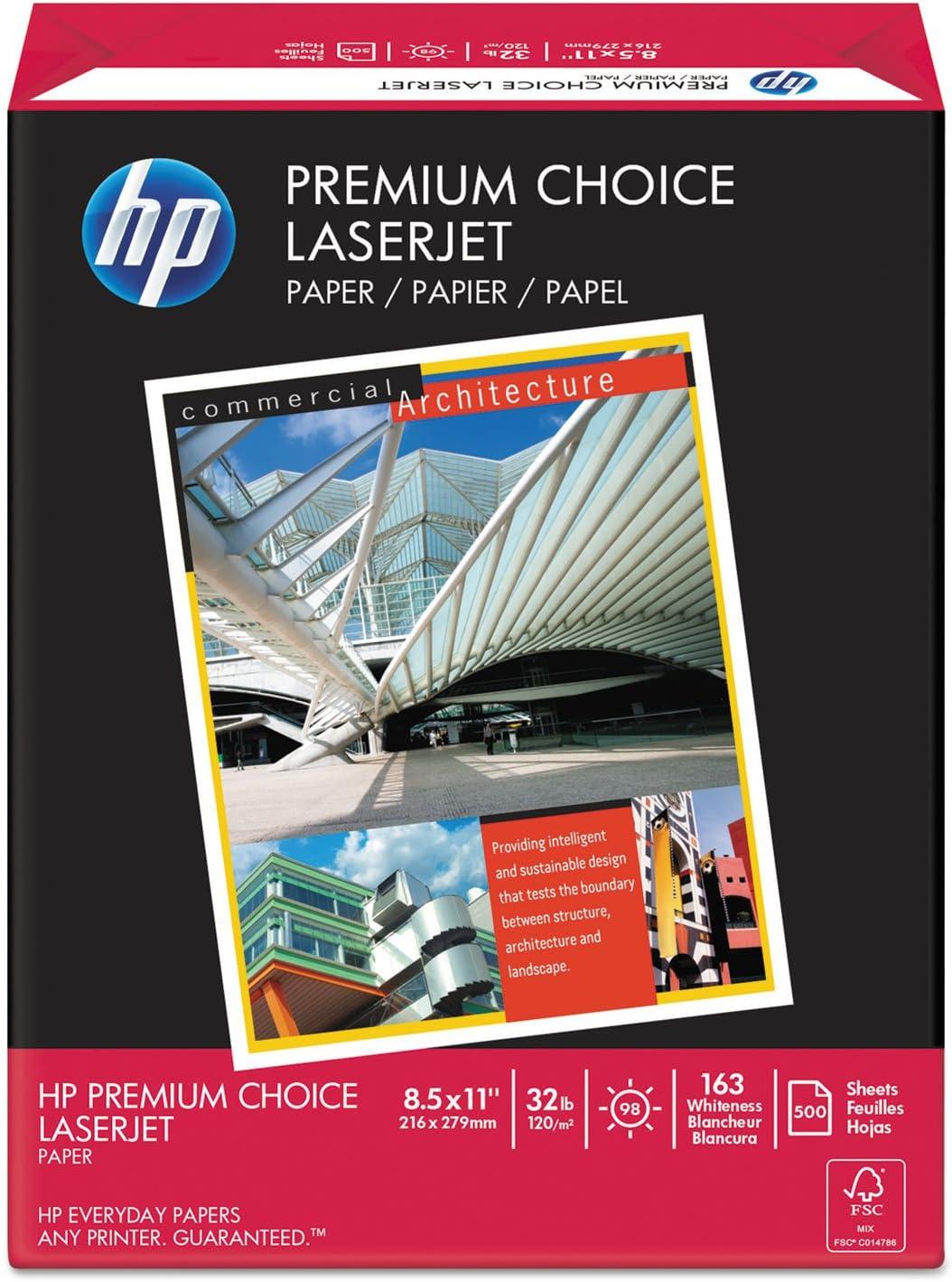 HP 113100 Premium Choice LaserJet Paper, 98 Brightness, 32lb, 8-1/2x11, White, 500 Shts/Rm