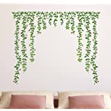 Decals Design 'Green Falling Flowers' Wall Sticker (PVC Vinyl, 60 cm x 90 cm x 1 cm)