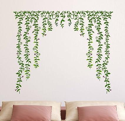 Decals Design Green Falling with Pretty Flowers Wall Sticker (PVC Vinyl, 60 cm x 90 cm x 1 cm)