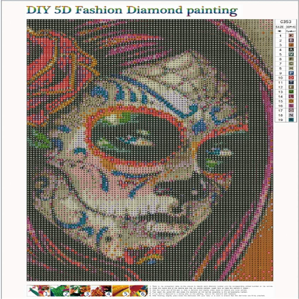 LianMengMVP 5D DIY Diamant Plein Peinture S/érie Cr/éatif T/ête de cr/âne Broderie Diamant Kit Complet D/écoration de Maison Salon Chambre Point De Croix Broderie Diamond Painting Kits