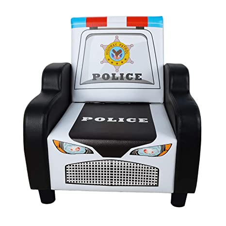 Amazon.com: Children\'s Police Car Shape Sofa Chair Black Kid\'s ...