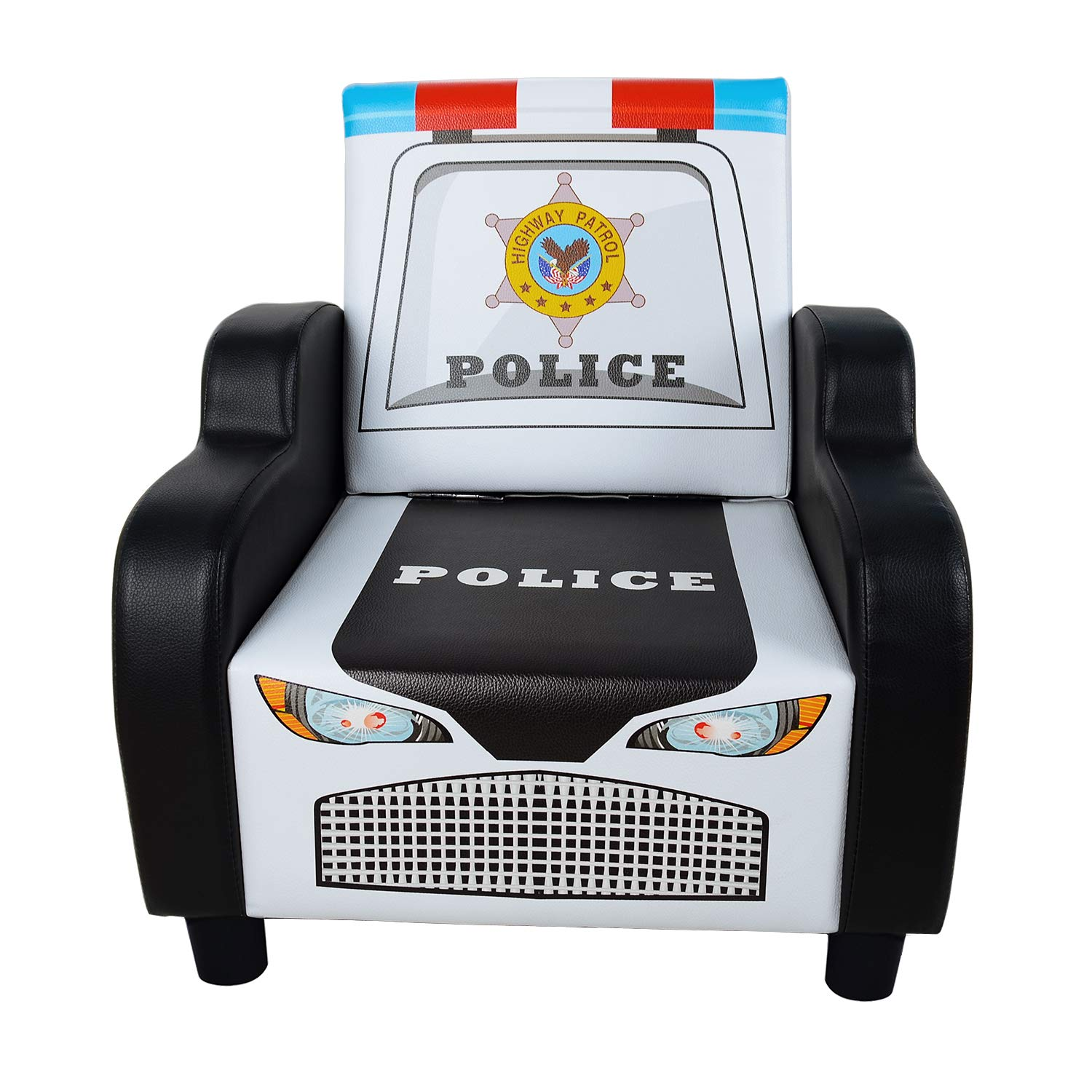 Children's Police Car Shape Sofa Chair Black Kid's Armrest Couch Small Kids Reading Chair Living Room Bedroom Furniture for Boys & Girls