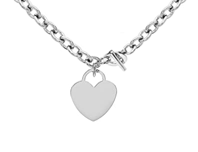 53846ab38 Tuscany Silver Sterling Silver Large Heart T-Bar Belcher Chain Necklace of  41cm/16