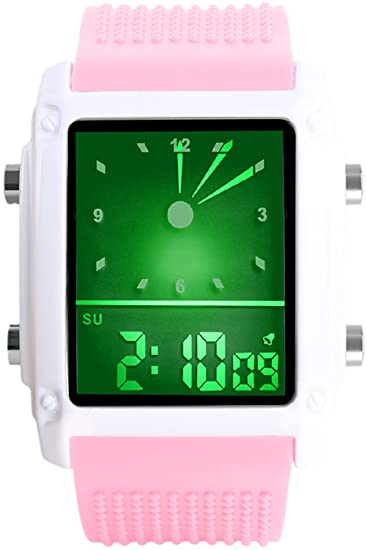 Skmei Dual Time Zone reloj para hombre Sport Digital cuarzo silicona negro reloj de pulsera rectángulo: Amazon.es: Relojes