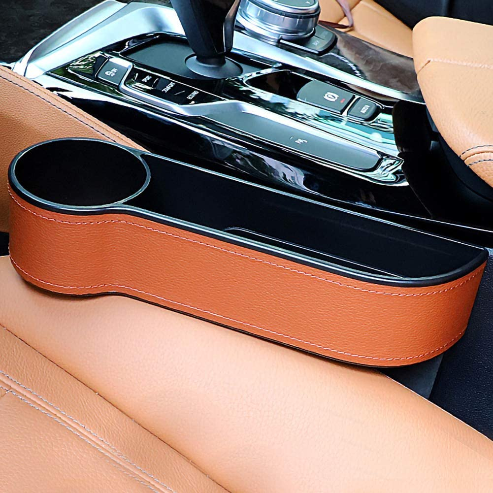 Used for Water Cup Mobile Phone Change Storage FADZECO Leather Car Storage Box Car Seat and Console Gap Storage Box Cup Holder
