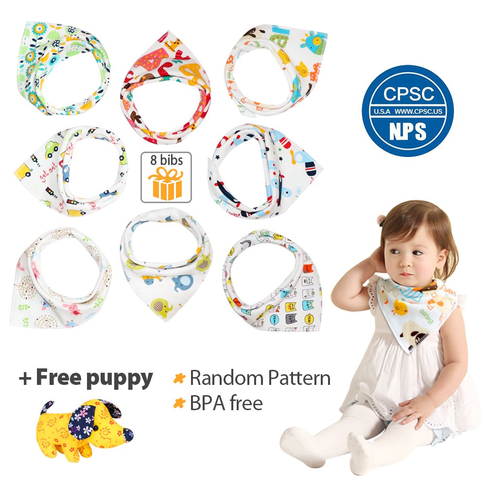 Baby Bandana Drool Bib Set, with Free Puppy, Organic Cotton, Soft and Absorbent, Stylish Design for Drooling and Teething Boys and Girls Toddler, 8 Packs by Ripeak
