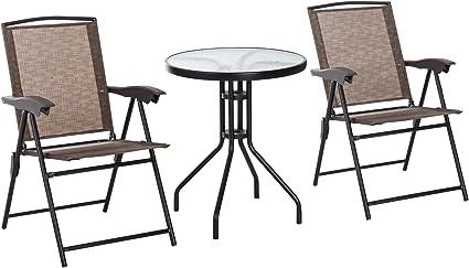 Outsunny Conjunto Mesa y 2 Sillas Muebles para Jardín Exterior Patio Terraza Silla Plegable Respaldo Reclinable a 4 Niveles Textilene Marco Acero Marrón: Amazon.es: Jardín