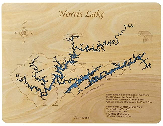 Norris Lake Tennessee Map.Amazon Com Norris Lake Tennessee Standout Wood Map Wall Hanging