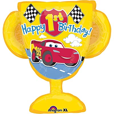 "Mayflower Products Disney Cars Happy 1st Birthday 26"" Mylar foil Balloon Trophy Party Supplies Boy: Toys & Games [5Bkhe0306820]"
