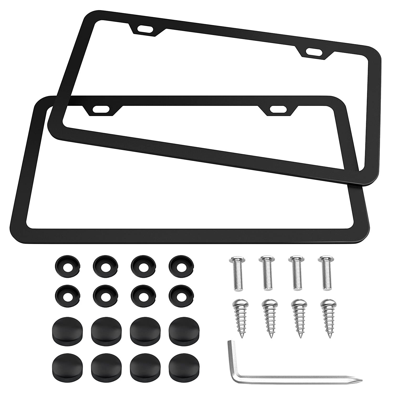 Advgears Black Car License Plate Frame Matte Stainless Steel Car Licence Plate Covers,2 PCS Slim Design Licenses Plates Frames With Screw Caps For US Vehicles 4 Holes