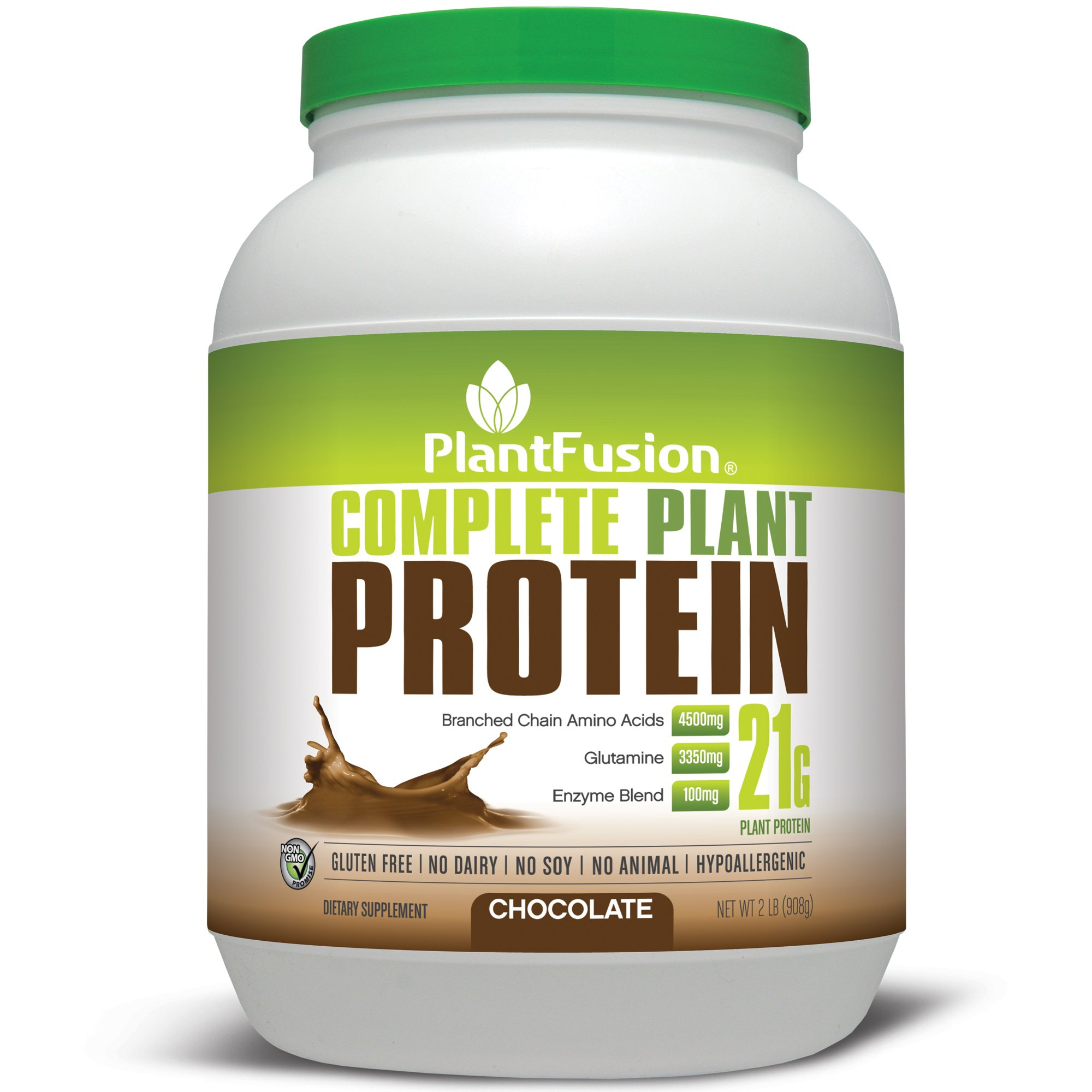 PlantFusion Complete Plant-Based Protein Powder, Chocolate, 2 Lb Tub, 30 Servings, 1 Count, Non-GMO, Gluten Free, Hypoallergenic