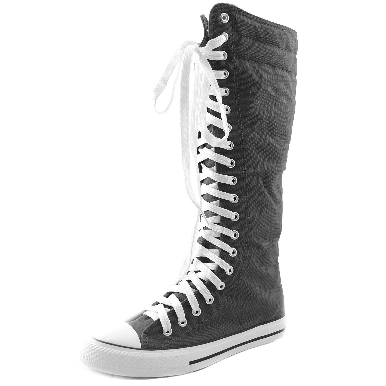 Women's Knee High Punk Sneaker Boots Punk-Hi Grey, 8.5