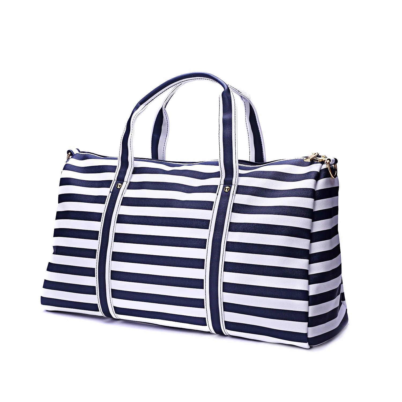 Harlermoon Geometric Luminous Holographic Purses and Handbags Flash Reflactive Tote for Women … (Stripe bag Blue)