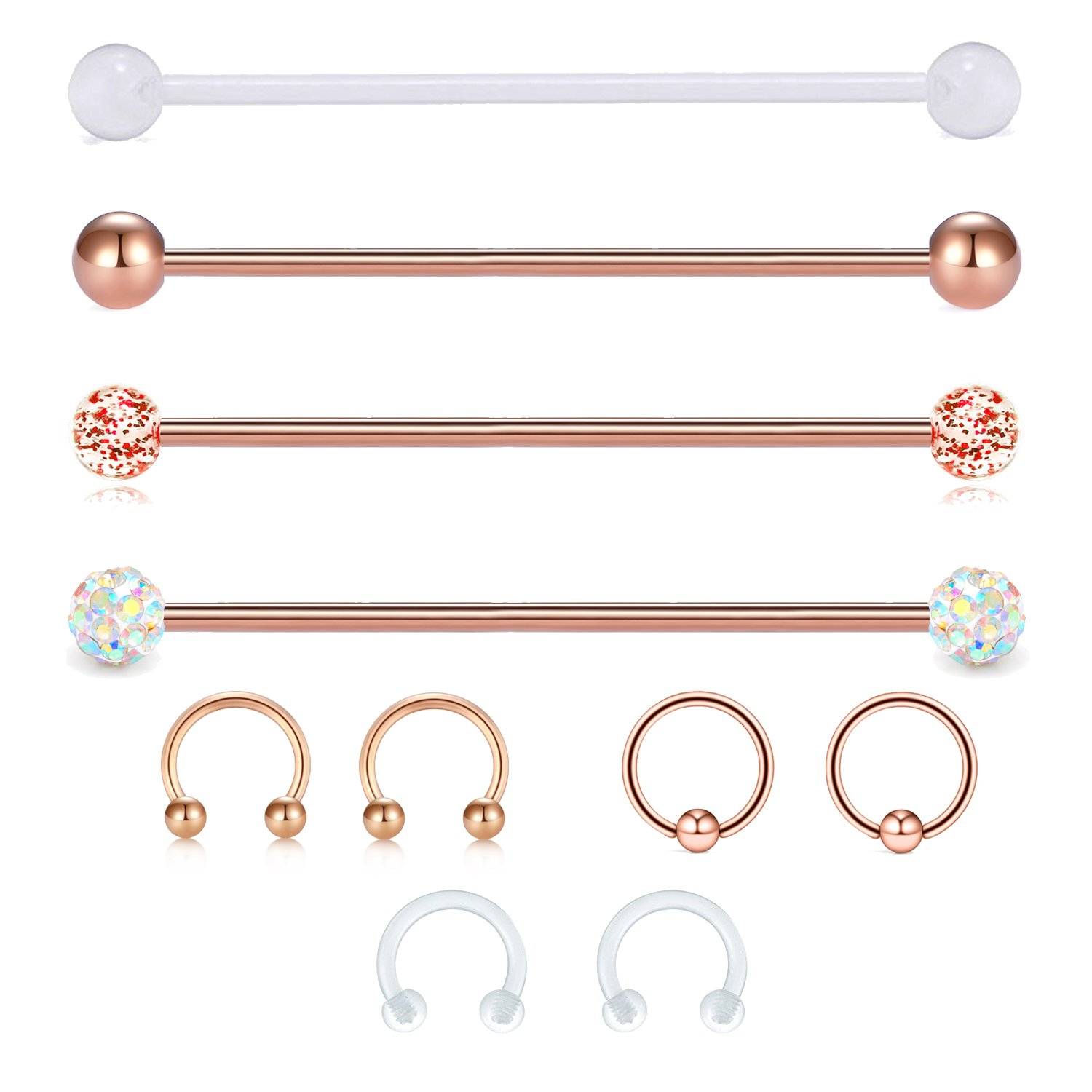 "JFORYOU 14G Cartilage Earring Industrial Barbells Surgical Steel Cartilage Tragus Helix Earring Flexible Bioplast Retainer, 1 1/2""(38mm),Rose Gold"