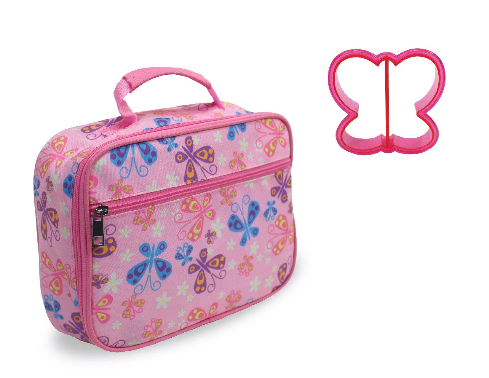 Lunch Box Butterfly Print with Butterfly Sandwich Cutter in Pink by Keeli Kids