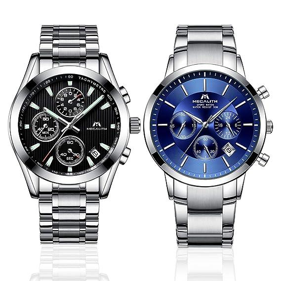 Paquete de 2-Relojes Hombre Reloj de Pulsera Impermeable ...