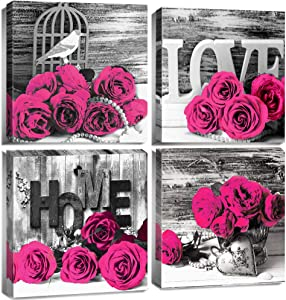 Black and White Floral Bathroom Wall Decor for Dark Pink Rose Wall Art Bedroom Canvas Prints Still life Flower Wooden Texture Pictures Home Decoration Modern Framed Office Artwork 12x12 Inch 4 Pcs/Set