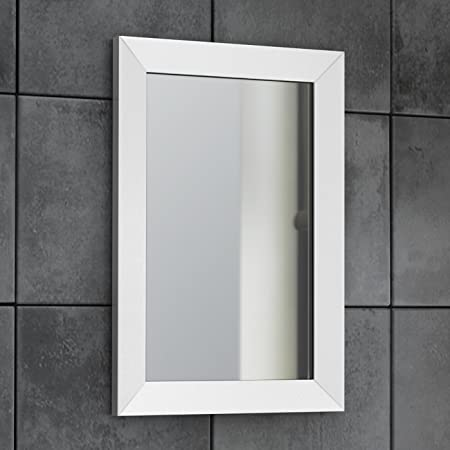 Modern Wall Hung White Bevelled Framed Mirror Bathroom Furniture ...