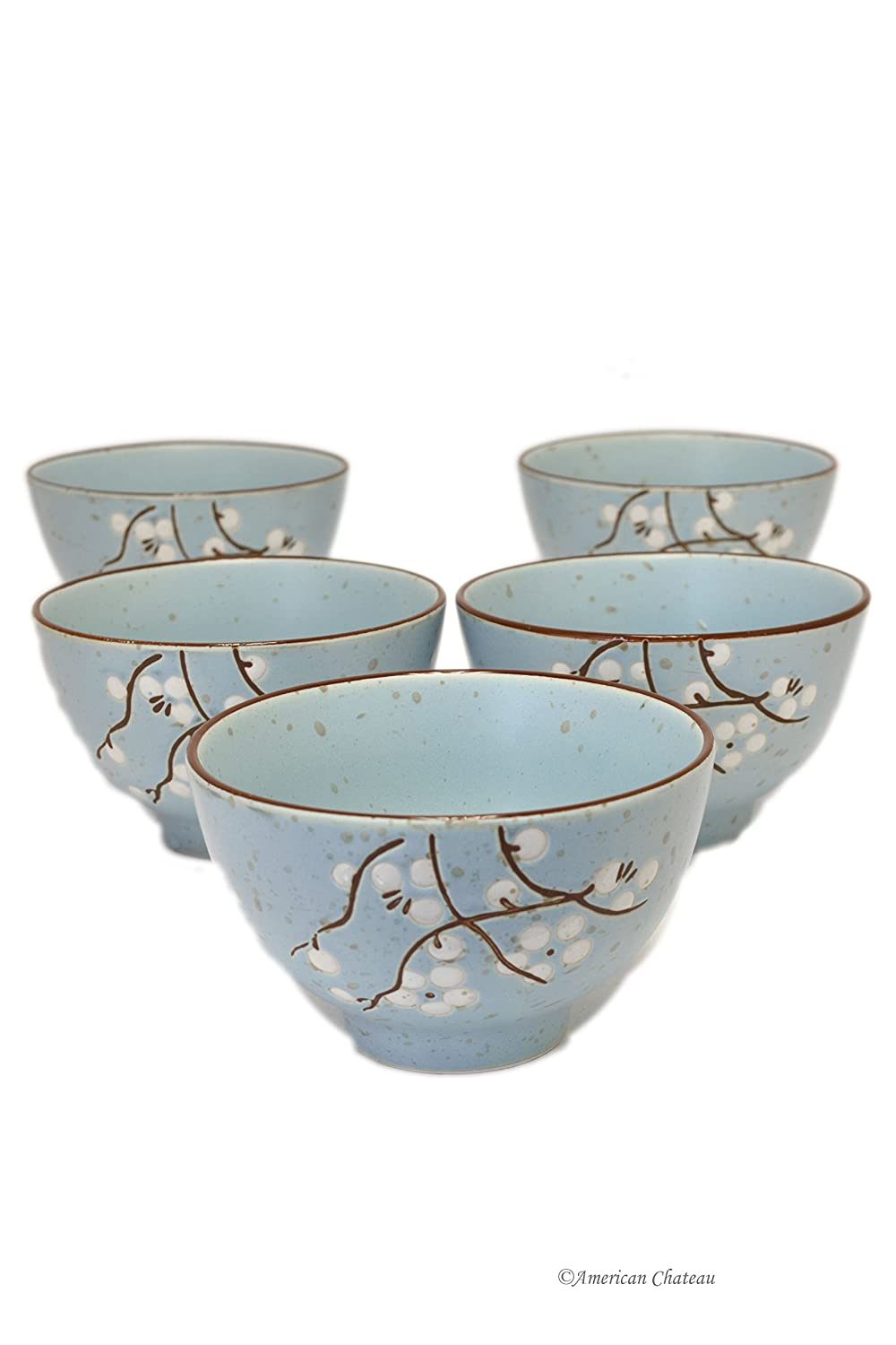 Set 5 Japanese Stoneware 10oz Asian Embossed Cherry Blossom Rice Bowls American Chateau