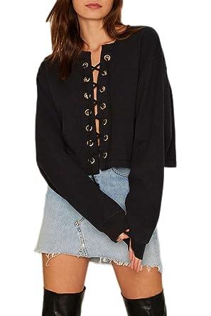 Les Femmes Sweat Vider Shirt Chemise Petit Style Bandage Maxi Ami qBrcqPW