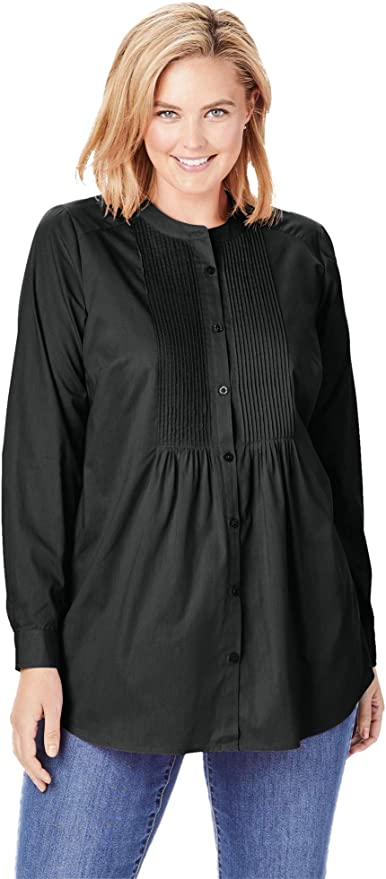 Woman Within Womens Plus Size Perfect Long-Sleeve Button Down Shirt