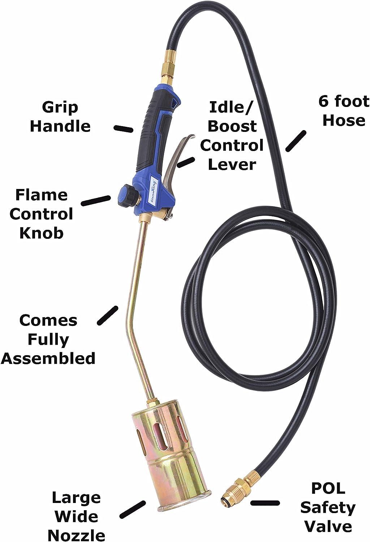 Blue//Black//Brass Flame King YSNAX1-061 Propane Torch Kit Heavy Duty Weed Burner