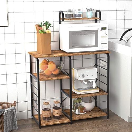SogesPower Kitchen Baker's Rack 3-Tier 4-Tier Microwave Stand Storage Rack