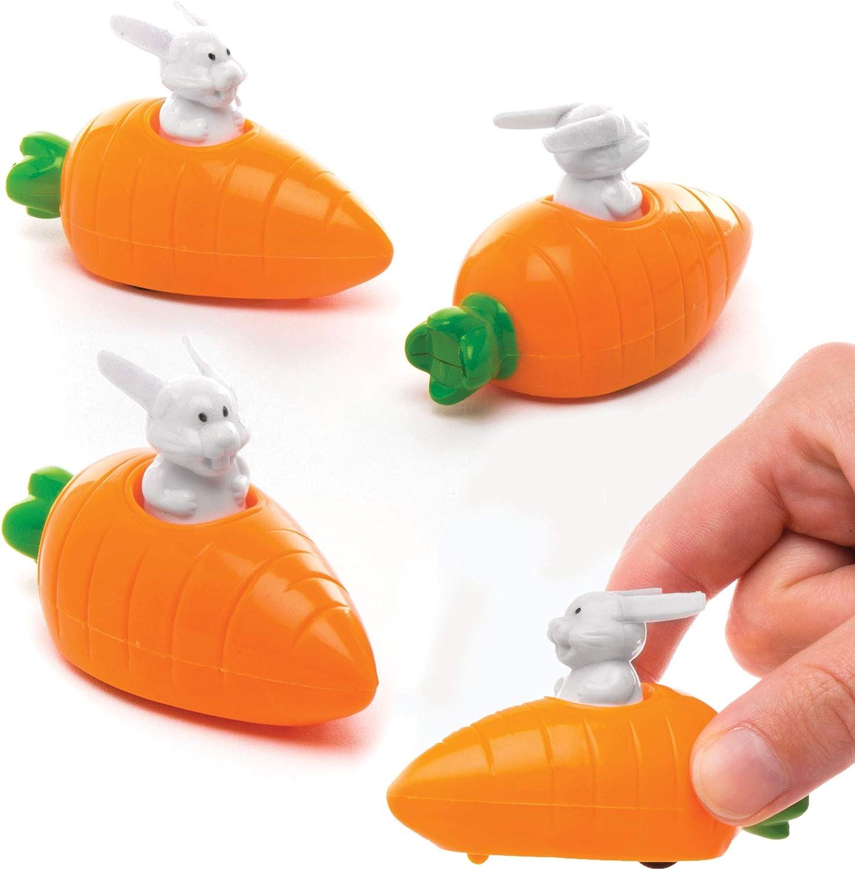 Baker Ross Coches Carrera con Corredor de Retroceso con forma de Conejo y Zanahoria (Paquete de 4) Ideal Para Niños en Bolsas de Cotillón de Pascua