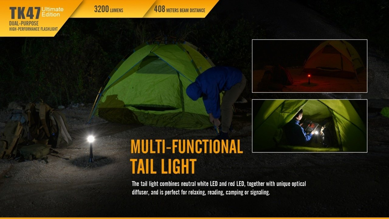 Fenix TK47 UE 3200 Lumen 1339 feet beam dual-purpose LED Flashlight with 4 X EdisonBright CR123A Lithium batteries Holster /& Lanyard bundle TK47UE-EBR