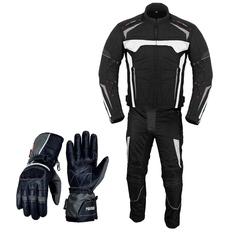 Tuta con guanti blindata 2/tuta da moto motocicletta impermeabile giacca tuta con pantaloni guanti CE Armour tutte le stagioni per uomo