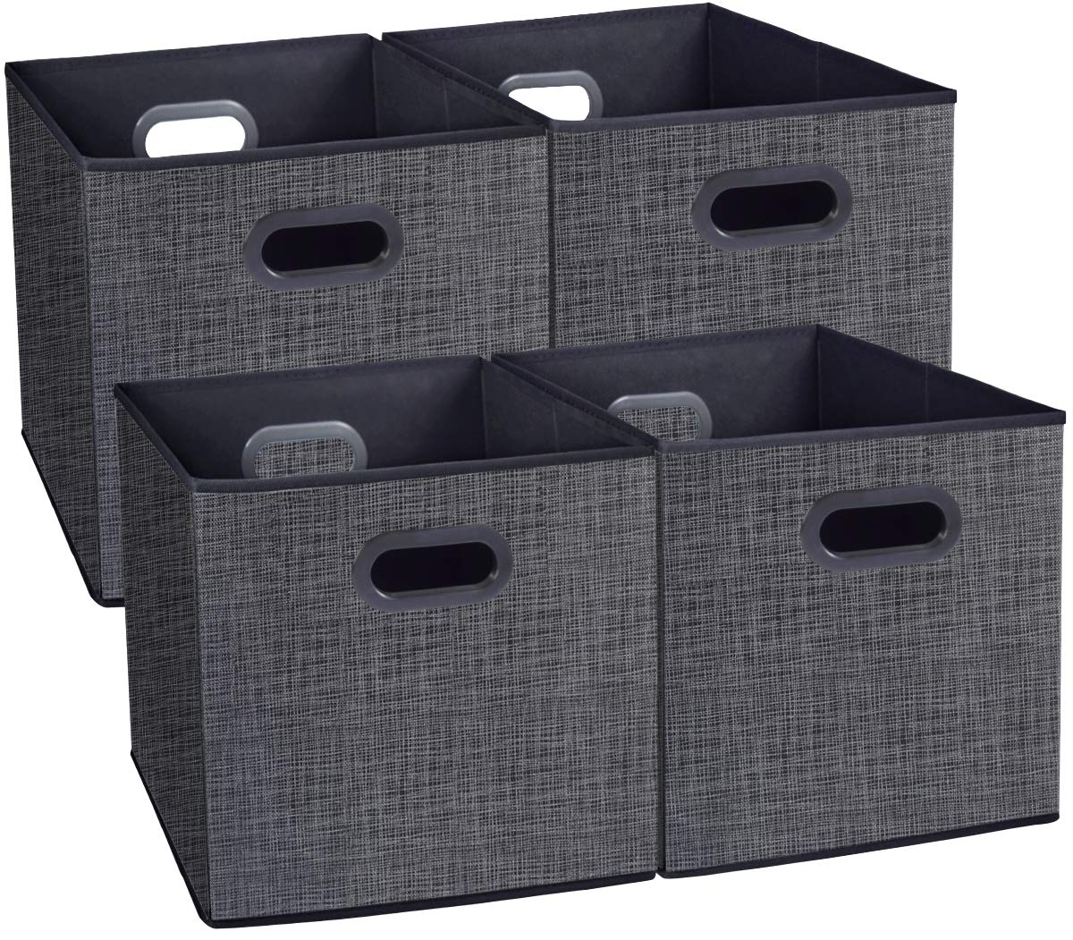 Cloth Storage Bins Cubes Boxes Fabric Baskets Containers,Foldable Closet Shelf Nursery Drawer Organizer for Clothes,Home,Office, Bedroom with Plastic Handles Set of 2 Grey Large(12x12x12 in) homyfort