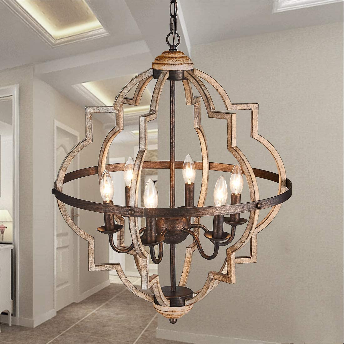 TZOE Orb 6-Light Chandelier Rustic Vintage Metal Chandelier Stardust Finish Foyer Chandelier Adjustable Height Dining Light Living Room Lighting Kitchen Chandelier UL Listed