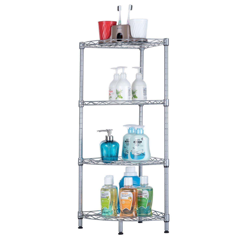 SINGAYE Corner Shelf, 4-Tier Mesh Wire Corner Rust Proof Shelf Kitchen Bathroom Storage