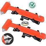 DOCOSS -Pack of 2- Hard Carbon Steel Emergency Seat Belt Cutter and Window Hammer Emergency Escape Tool for Car Window Glass Hammer Breaker(Orange)
