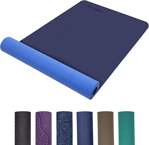 TOPLUS Yoga Mat, Classic Pro Yoga Mat TPE Eco Friendly Non Slip Fitness Exercise Mat with Carrying Strap-Workout Mat for Yoga, Pilates and Gymnastics 183 x 61 x 0.6CM