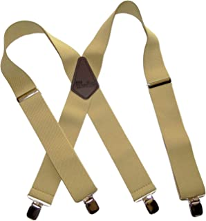 product image for Holdup Brand XL Big and Tall Sun-Tan X-back wide work Suspenders and No-slip Jumbo Silver Clips
