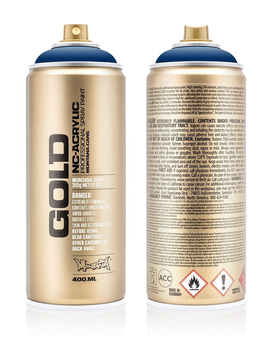 Montana Cans 285714 Montana Spray Dose Gold 400ml-SHOCK Colors, Gld400-s5020-Shock Blue Dark