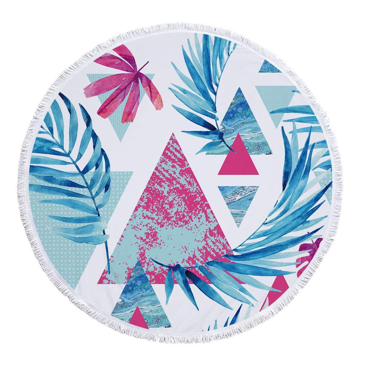 BBQBQ Estera de Yoga Redonda de Playa con Hojas Tropicales de ...